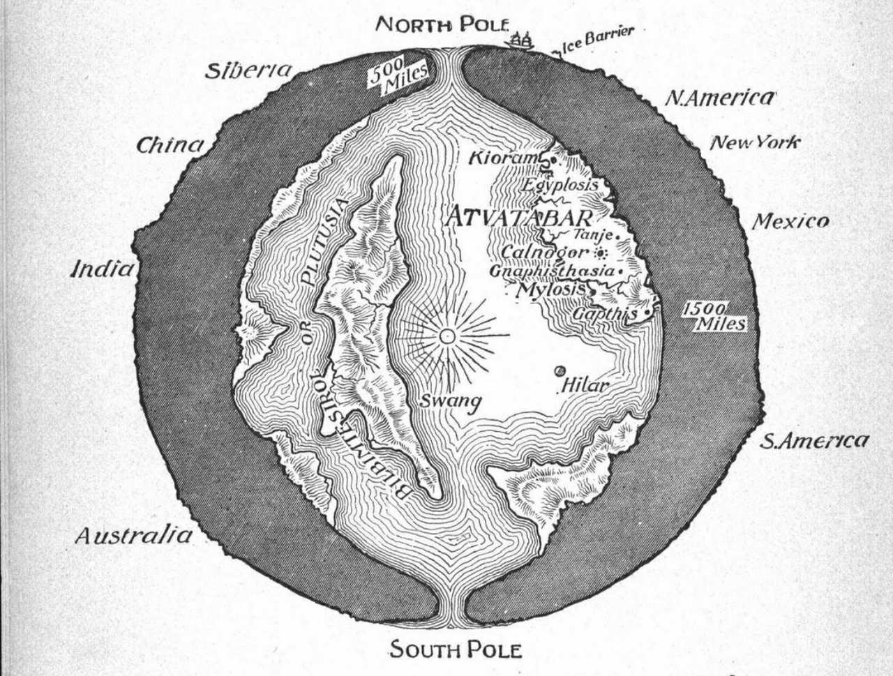 """A cross-sectional drawing of the planet Earth showing the """"Interior World"""" of Atvatabar, from William R. Bradshaw's 1892 science-fiction novel The Goddess of Atvatabar"""