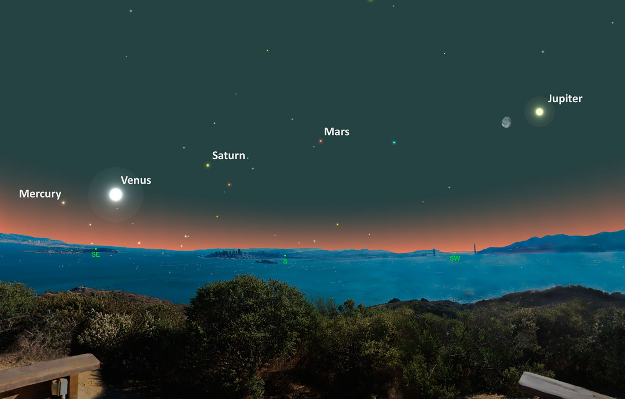 Mercury rises out of the early morning glow to complete the full set of five bright planets. Credit: National Geographic