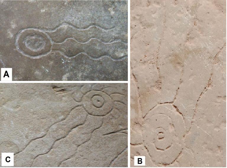 View of meteor symbols, A: Ida 1, B: Ida 2 and C: Ida 3.