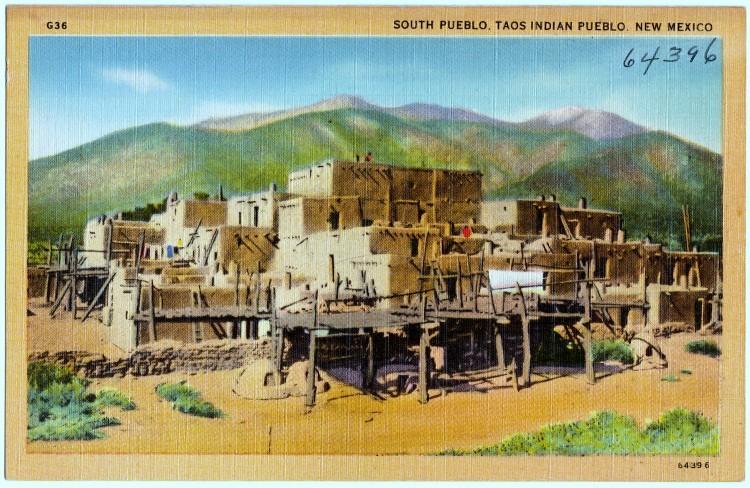 Zuid Pueblo, Taos Indiase Pueblo. New Mexico