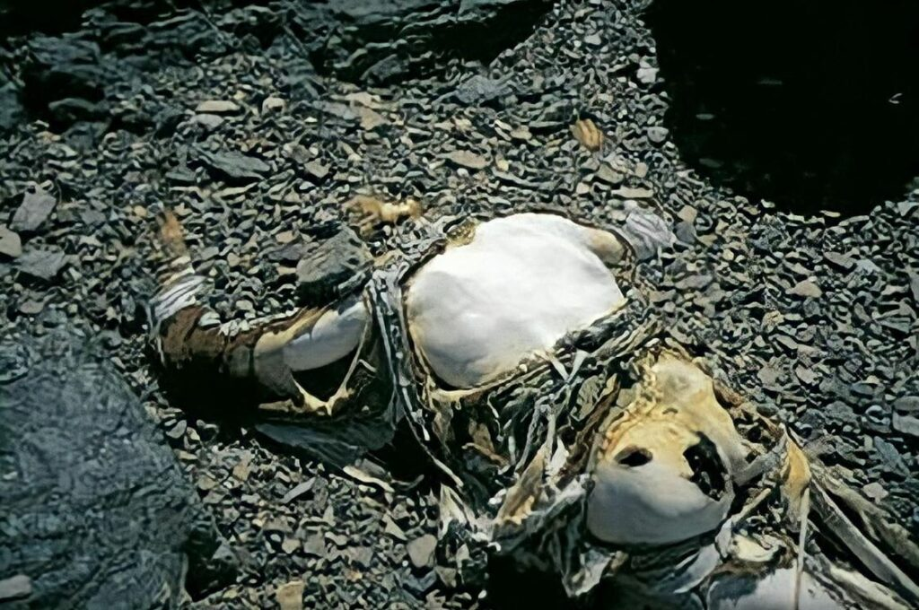George Mallory, as he was found by the 1999 Mallory and Irvine Research Expedition.