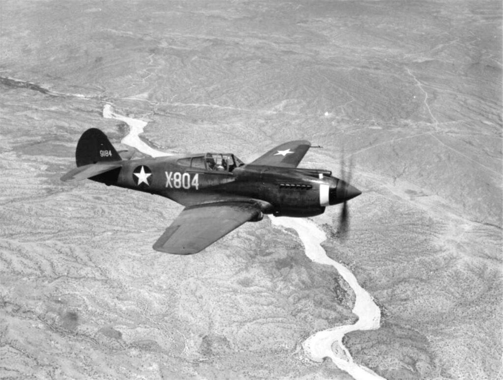 Curtiss P-40 Warhawk Aircraft in Flight