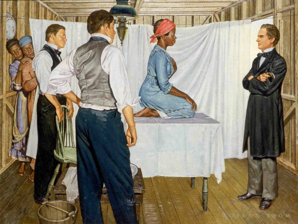 This painting by Robert Thom, part of the Great Moments in Medicine series, is the only known representation of Lucy, Anarcha, and Betsey, the three enslaved women Sims operated upon.