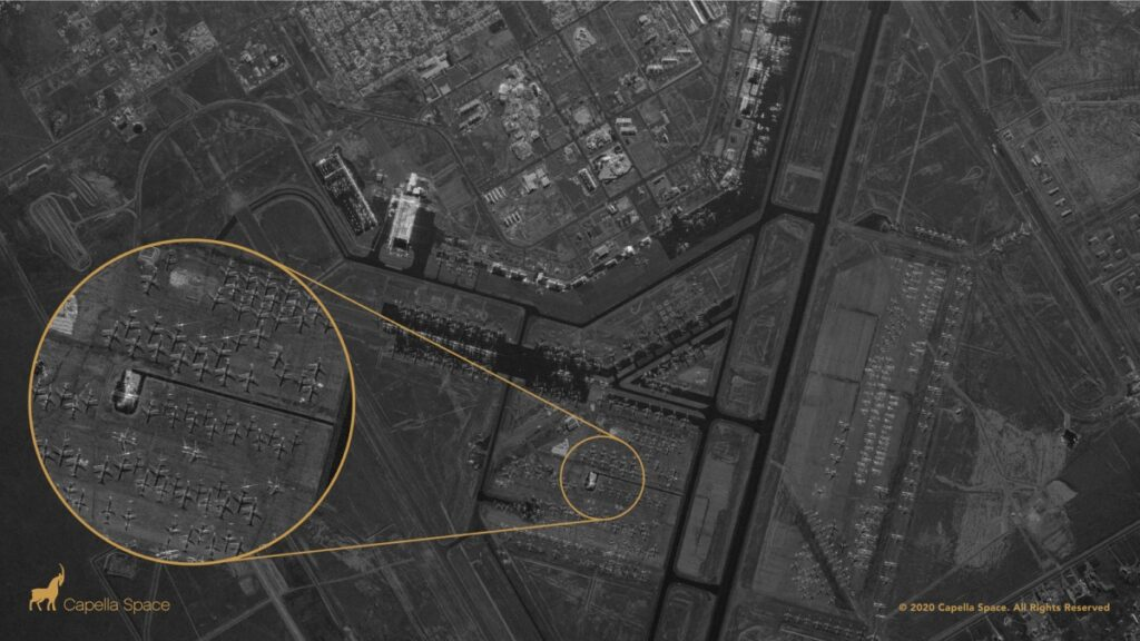 Roswell International Air Center, New Mexico. SAR imagery provided by Capella Space.