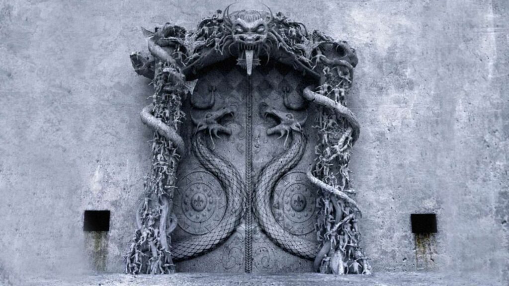 Representation of the sealed door of Vault B.