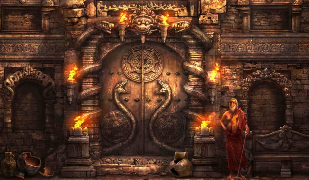 Artist's representation of the sealed door of Vault B at Padmanabhaswamy Temple