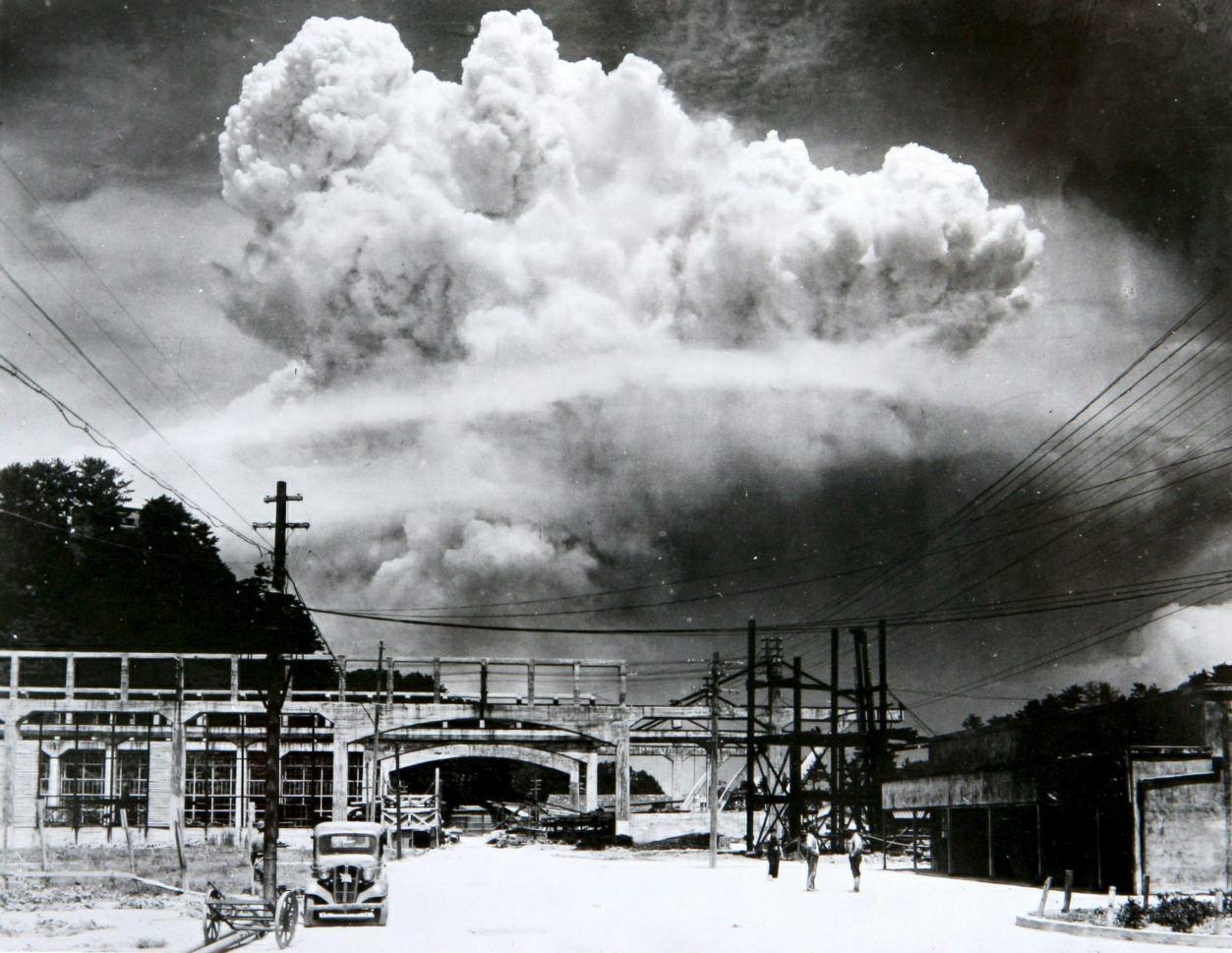 An atomic cloud looms over Nagasaki