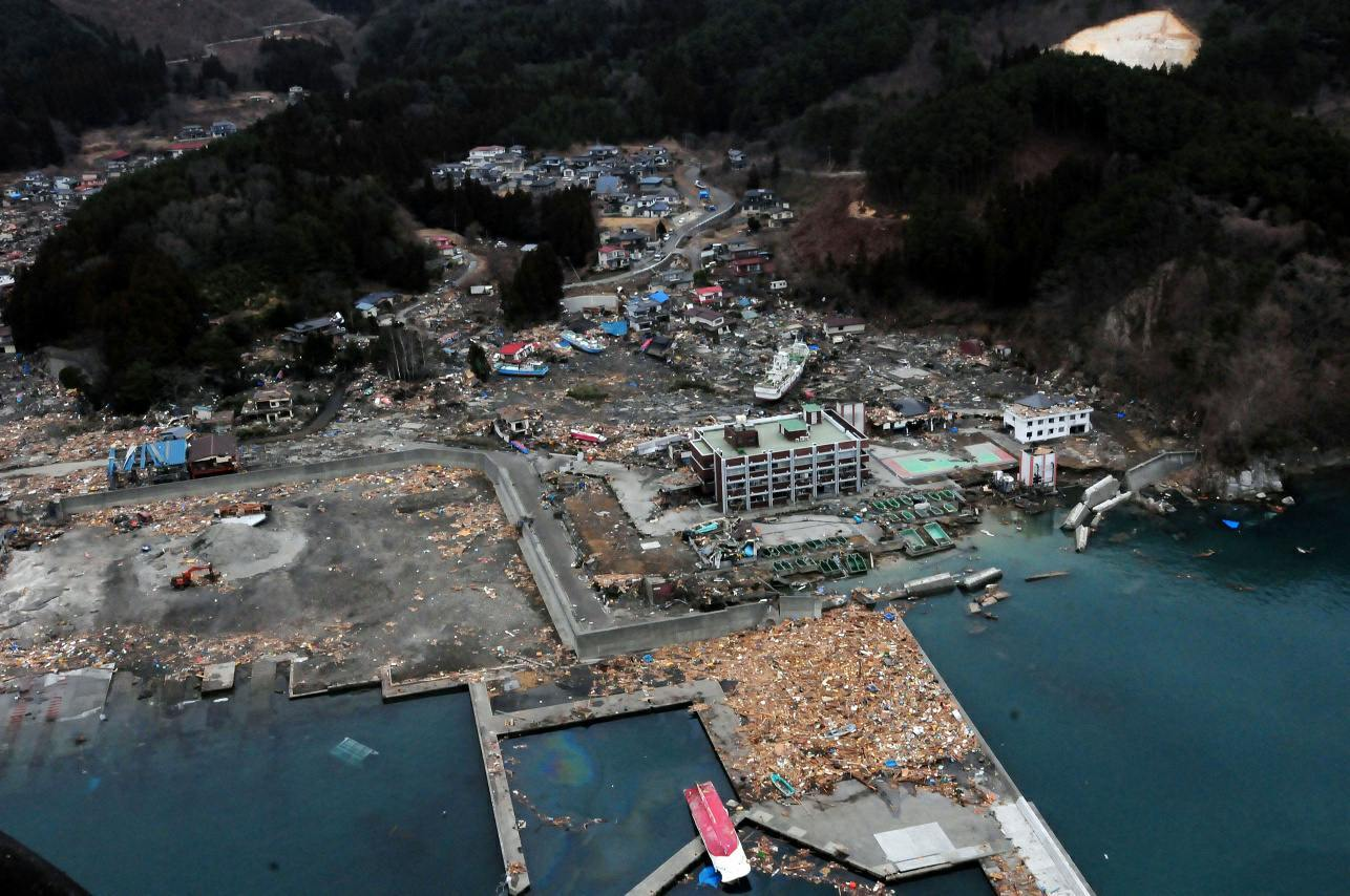 Tsunami damage to Otsuchi, Japan,