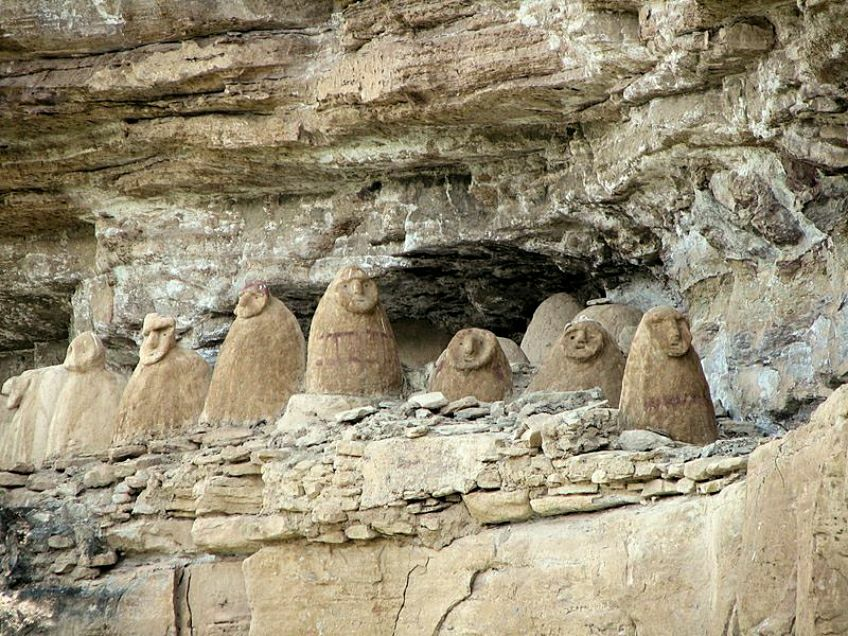 Sarcophagi on a cliff, Chachapoyas, Amazonas-Peru.