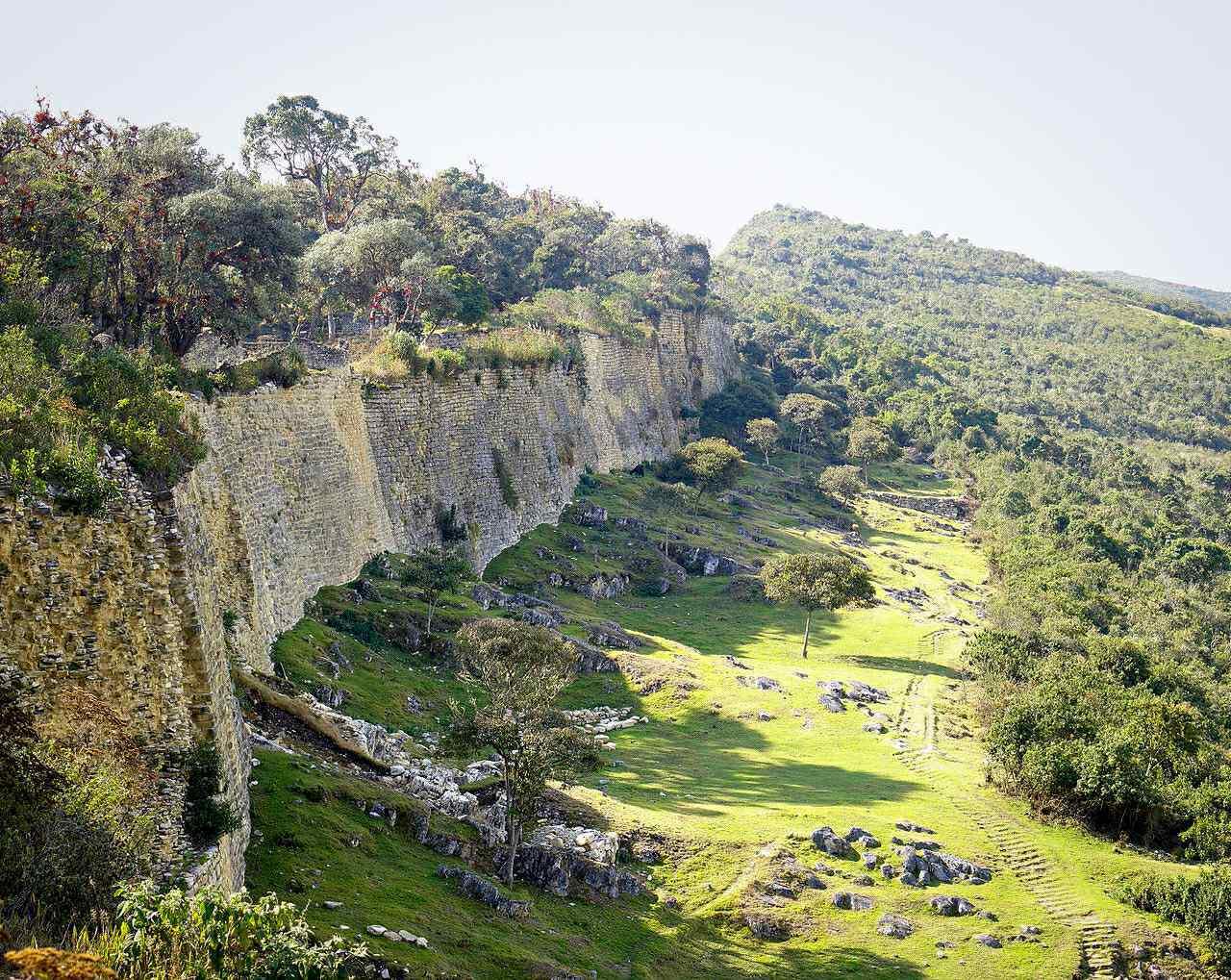 Massive exterior walls, the eastern facade of the Citadel of Kuélap, Peru.