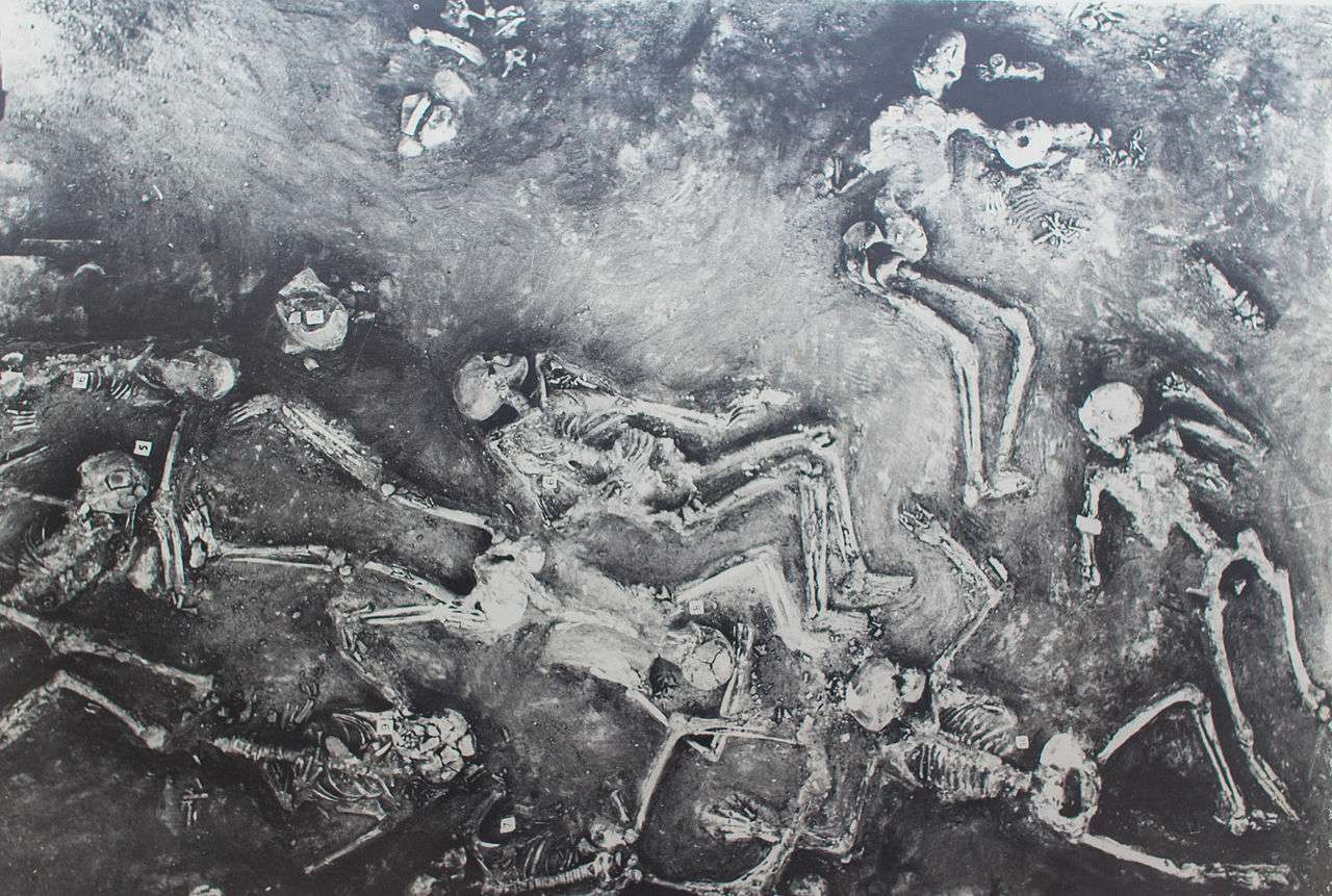 Painting of the skeletons found during the digging at Mohenjo Daro