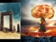 Illustrations of atomic blast and ancient ruin in the desert. © Image Credits: Obsidianfantacy & Razvan lonut Dragomirescu | Licensed from DreamsTime.com (Editorial/commercial Use Stock Photos)