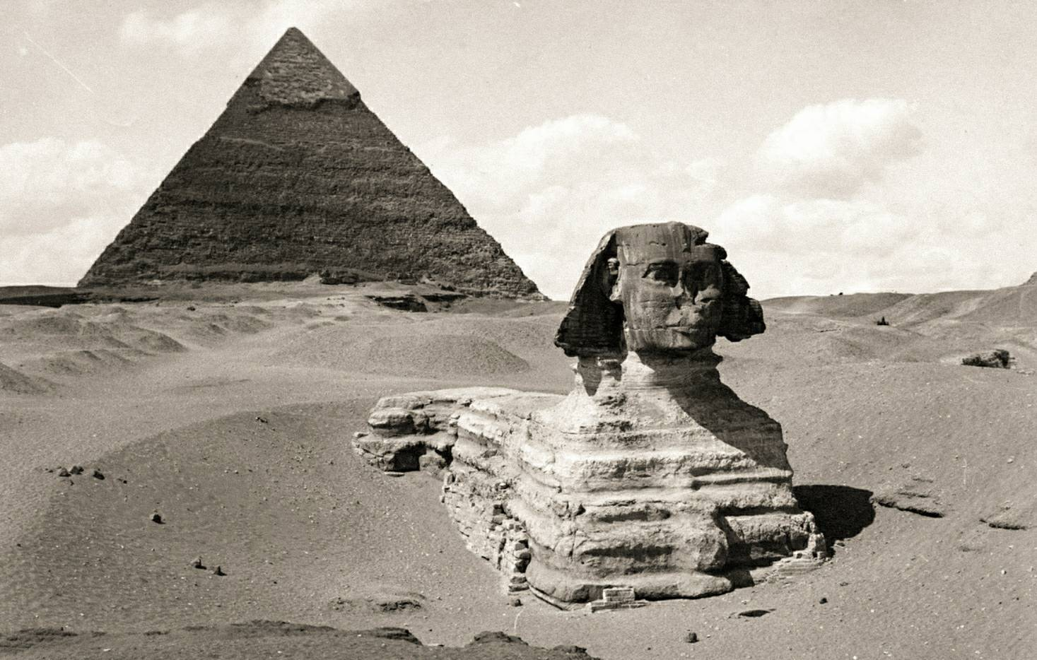 The Great Sphinx of Giza before excavation had revealed more of the statue, photographed circa 1860. © P. Dittrich / New York Public Library
