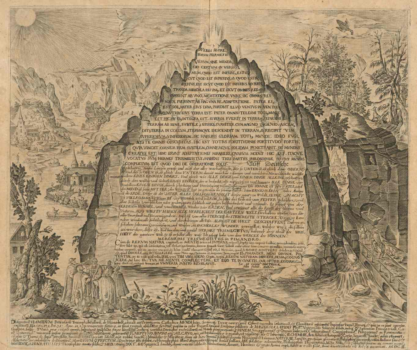 An imaginative 17th-century depiction of the Emerald Tablet from the work of Heinrich Khunrath, 1606