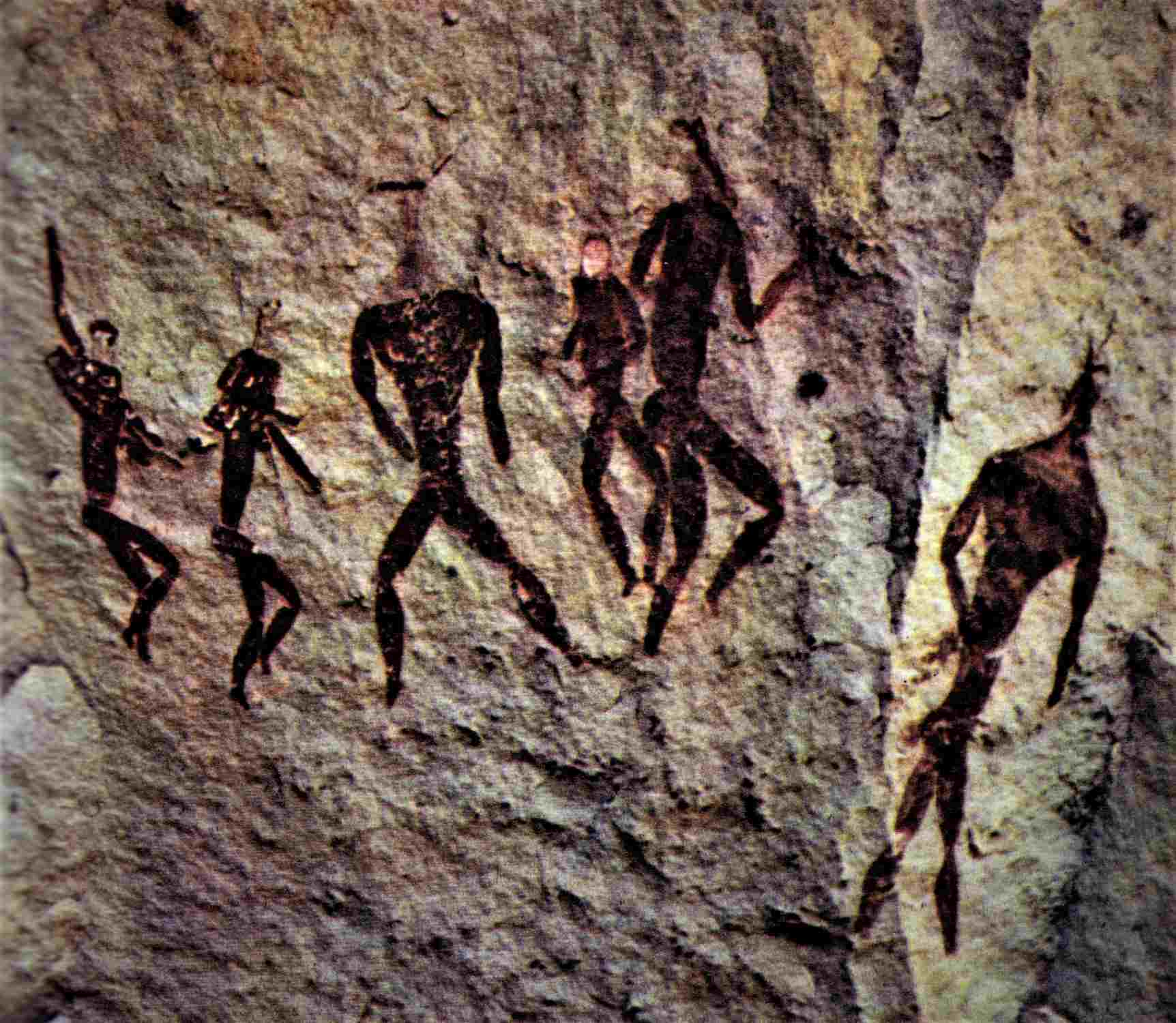 """painting in the Tabamyama Rock Shelter in the Drakensberg Mountains of South Africa graphically illustrates the """"Igigi Rebellion"""". The three Beings with there backs to us are the """"Igigi"""" -- the Anunnaki, second from the left can be identified by the """"Hand Bag"""" on his right arm. This painting appears to suggest a """"Conflict Situation""""."""