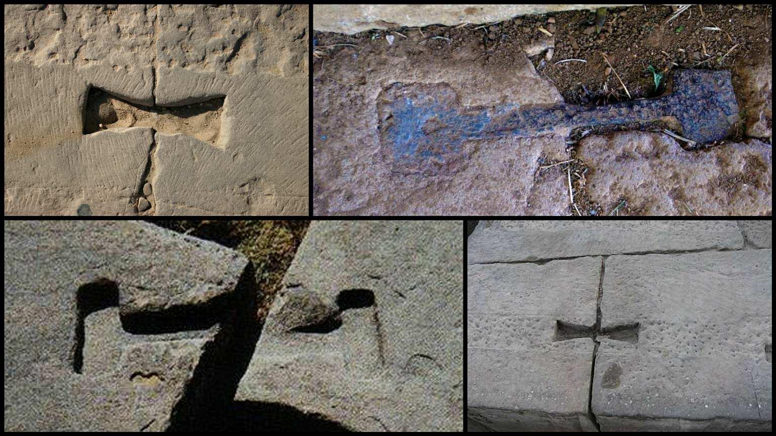 Rund um den Globus finden sich in massiven alten Megalithstrukturen T-förmige oder sanduhrförmige Schlusssteinausschnitte. Metalllegierungen wurden in die Schlusssteine gegossen, um die Wände zu verstärken, wobei Fähigkeiten eingesetzt wurden, die weltweit als Wissen geteilt zu werden schienen.