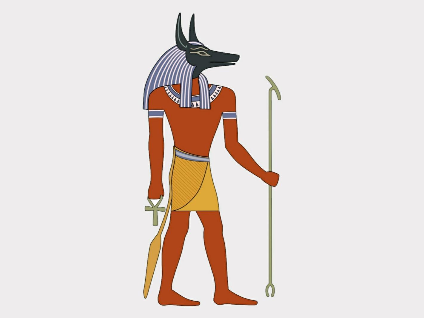 Selbst gemachtes Bild des alten ägyptischen Gottes Anubis. Hergestellt von Ningyou