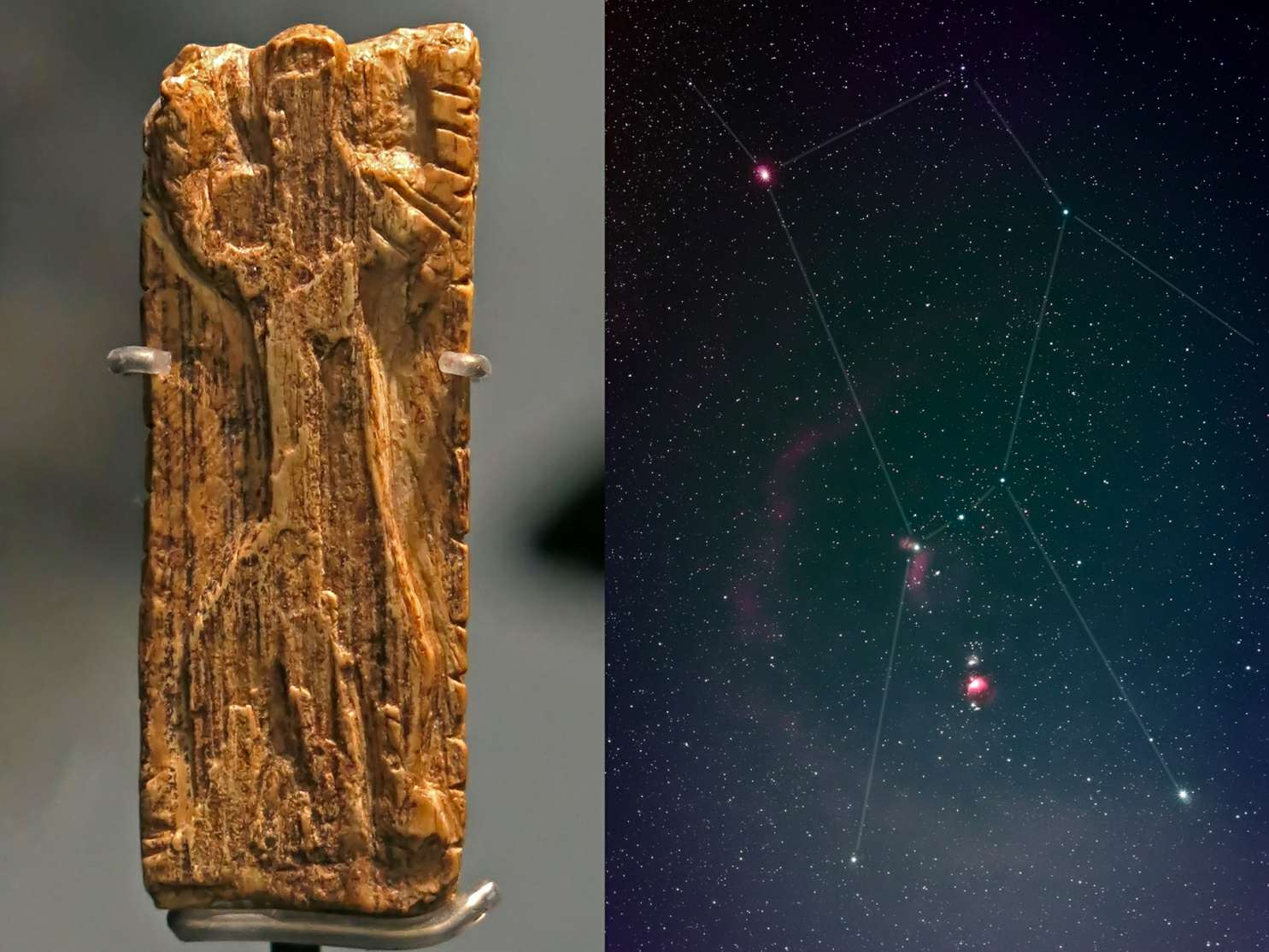The oldest image of a star pattern, that of the famous constellation of Orion, has been recognised on an ivory tablet some 32,500 years old. The tiny sliver of mammoth tusk contains a carving of a man-like figure with arms and legs outstretched in the same pose as the stars of Orion.