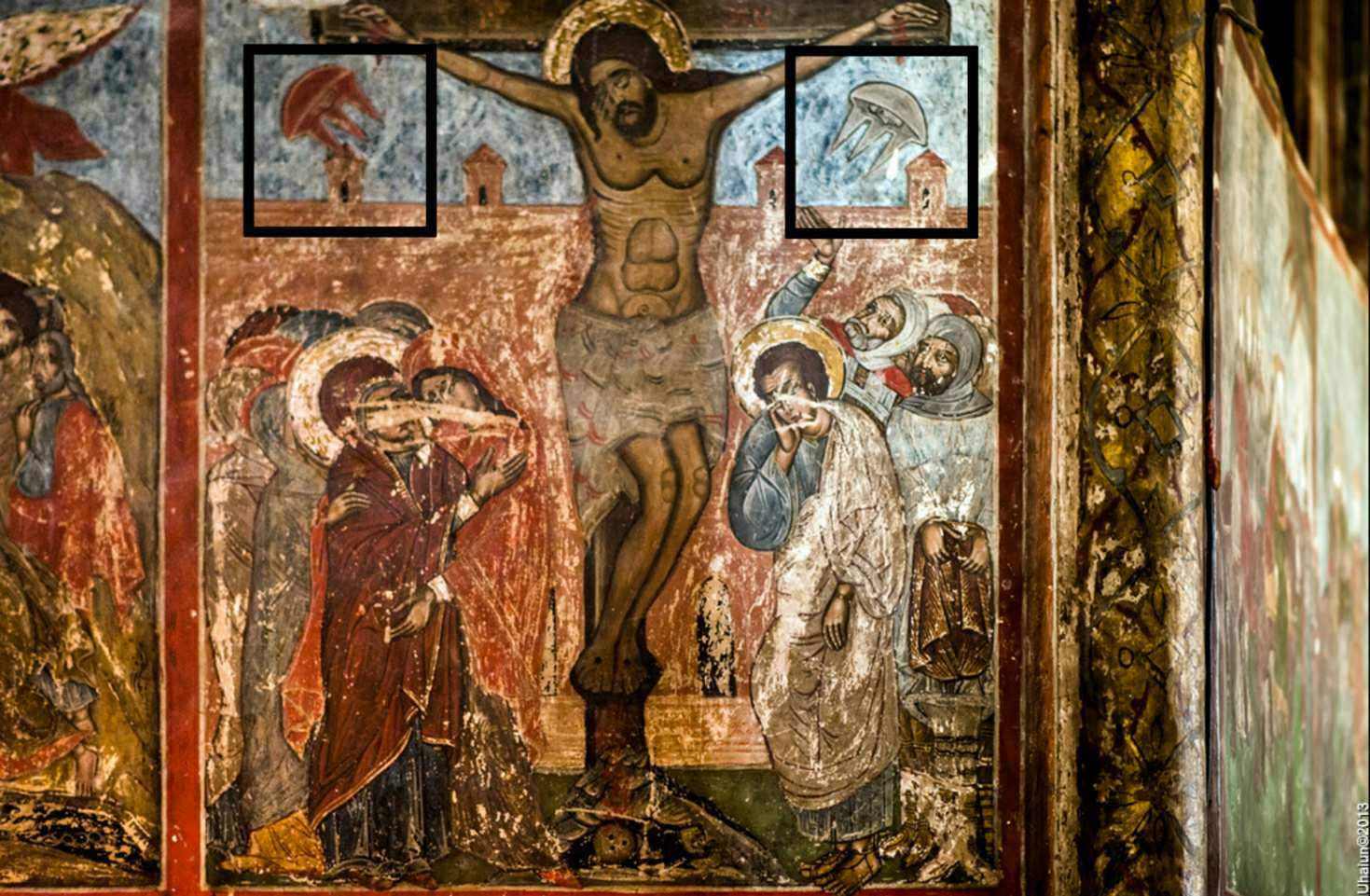 Η τοιχογραφία σταύρωσης από τον καθεδρικό ναό Svetitskhoveli, Mtskheta, Γεωργία