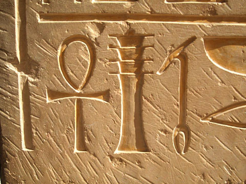 Ein Relief aus dem Grab von Hatschepsuts Totentempel in Deir el-Bahr, das ein Ankh (Symbol des Lebens), Djed (Symbol der Stabilität) und War (Symbol der Macht) zeigt.