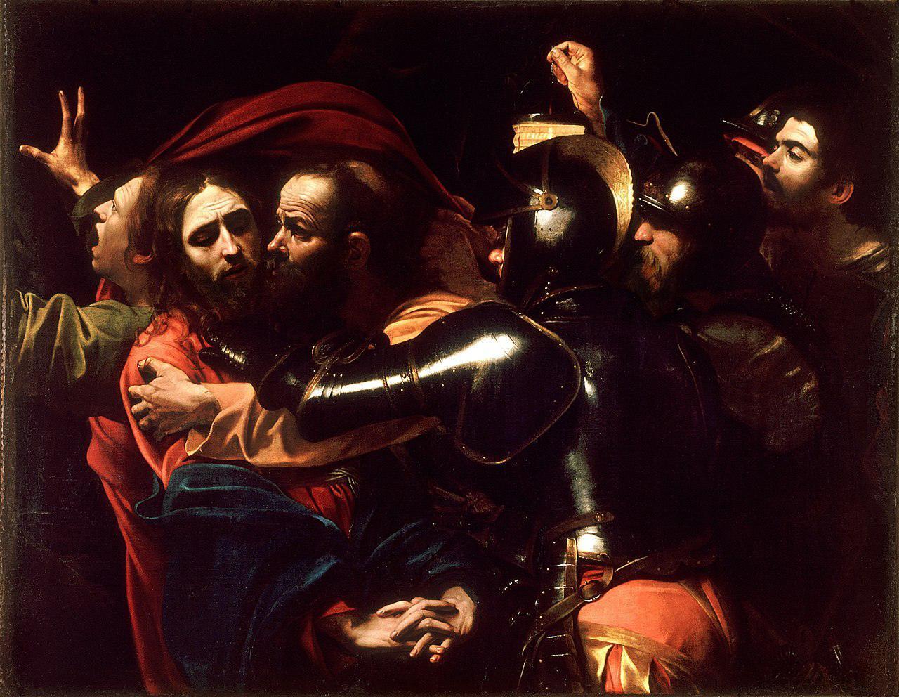 Judas betraying Jesus with a kiss