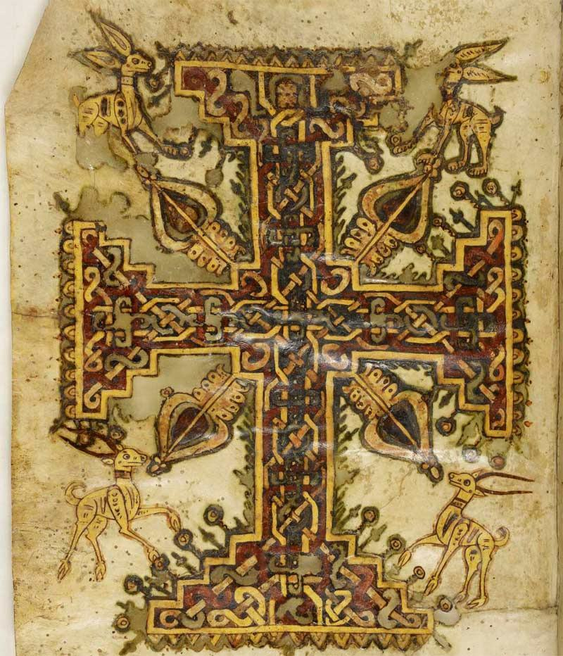 A researcher has deciphered a 1,200-year-old Coptic text that tells part of the Passion (the Easter story) with apocryphal plot twists, some of which have never been seen before. Here, a cross decoration from the text, of which there are two copies, the best preserved in the Morgan Library and Museum in New York City. (Image credit: Image courtesy The Pierpont Morgan Library)
