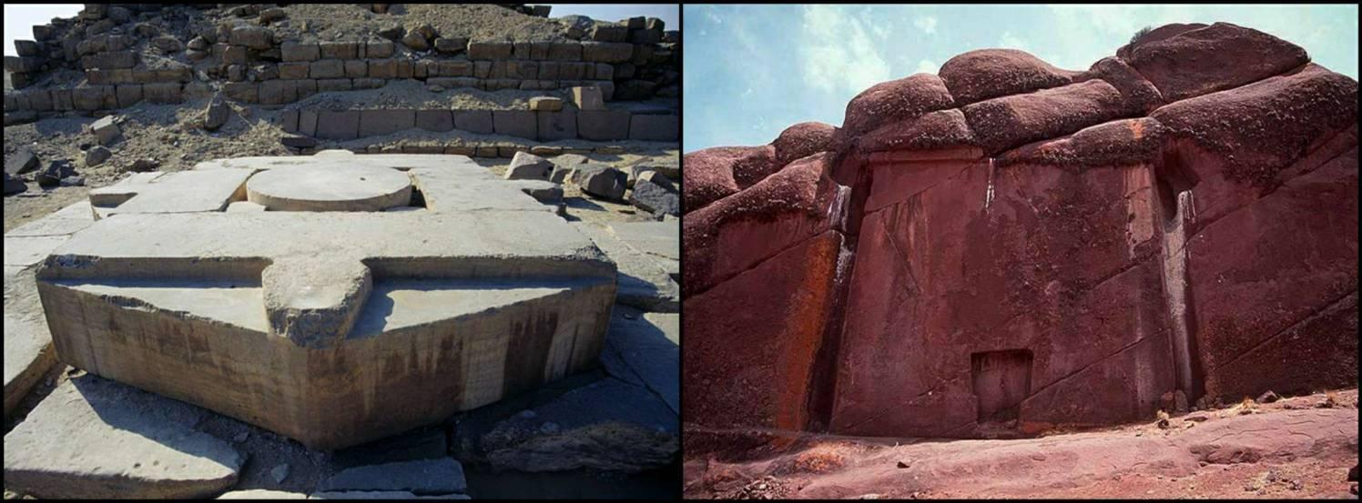 Abu Ghurab in Egypt (left) and La Puerta de Hayu Marka in Peru (right)