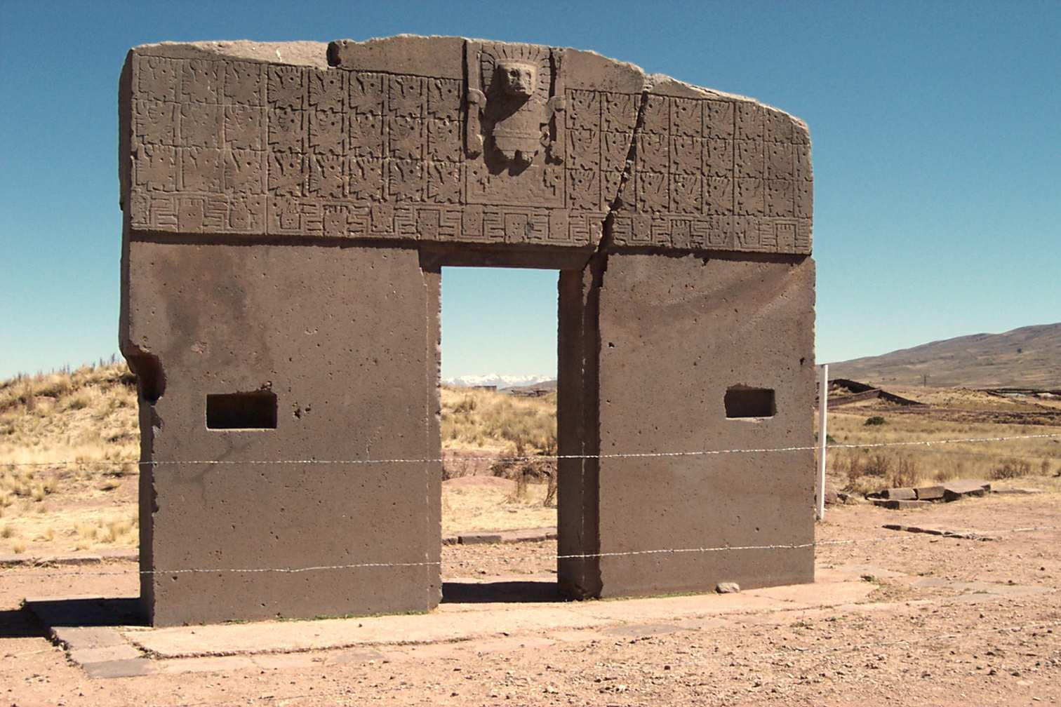 The Gateway of the Sun from the Tiwanaku civilization in Bolivia
