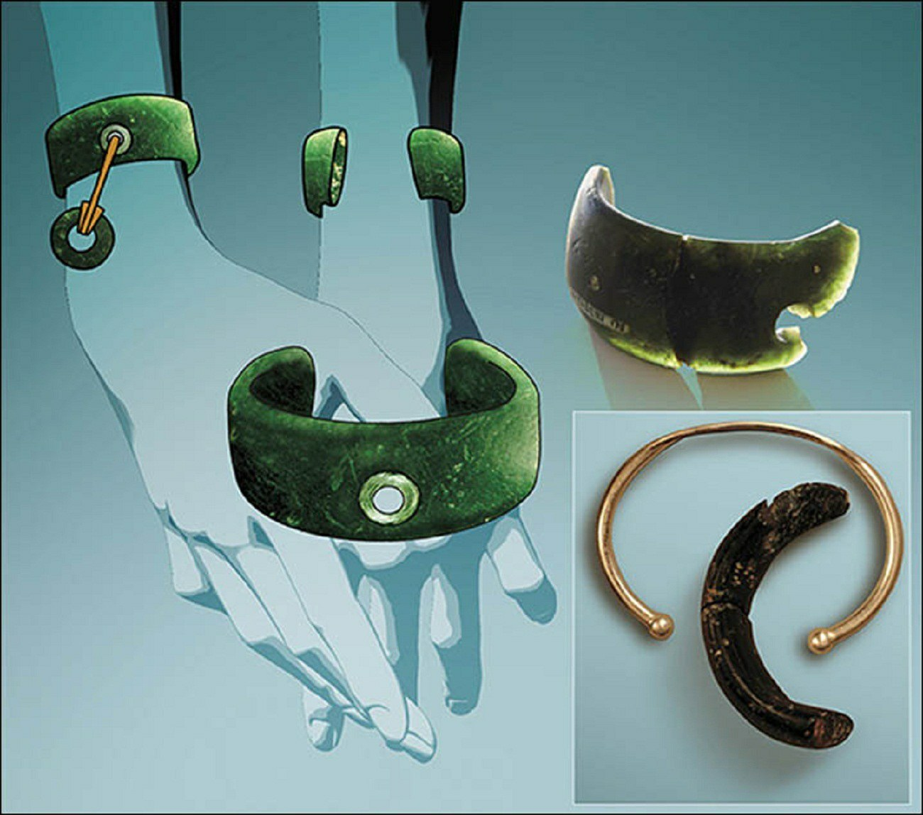 General reconstruction of the view of the bracelet and compraison with the moders bracelet.Pictures: Anatoly Derevyanko and Mikhail Shunkov, Anastasia Abdulmanova
