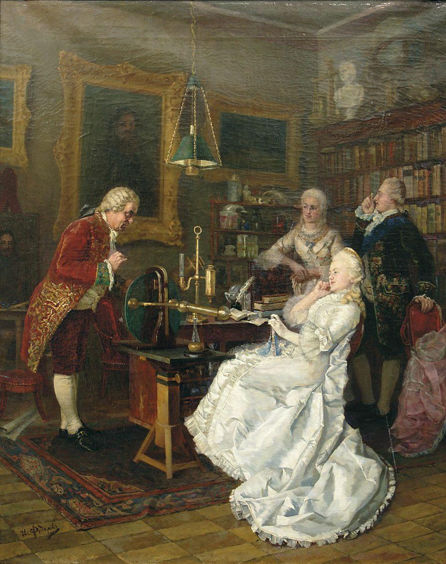 Catharina II van Rusland bezoekt Mikhail Lomonosov in 1764. 1884 schilderij van Ivan Feodorov
