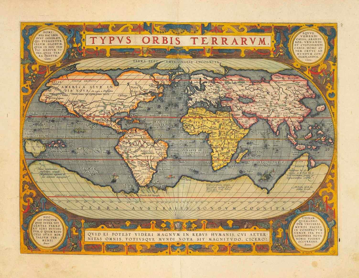 """Op deze kaart uit 1570 wordt Hyperborea weergegeven als een Arctisch continent en beschreven als """"Terra Septemtriionalis Incognita"""" (Onbekend Noordelijk Land)."""