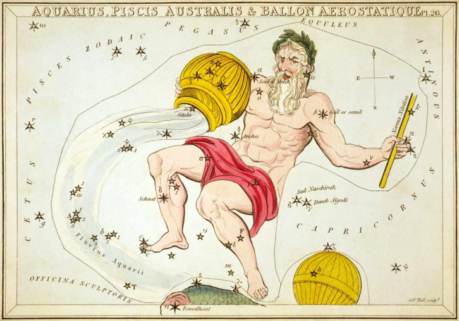 """Aquarius, Piscis Australis & Ballon Aerostatique"", plate 26 in Urania's Mirror, a set of celestial cards accompanied by A familiar treatise on astronomy Jehoshaphat Aspin."