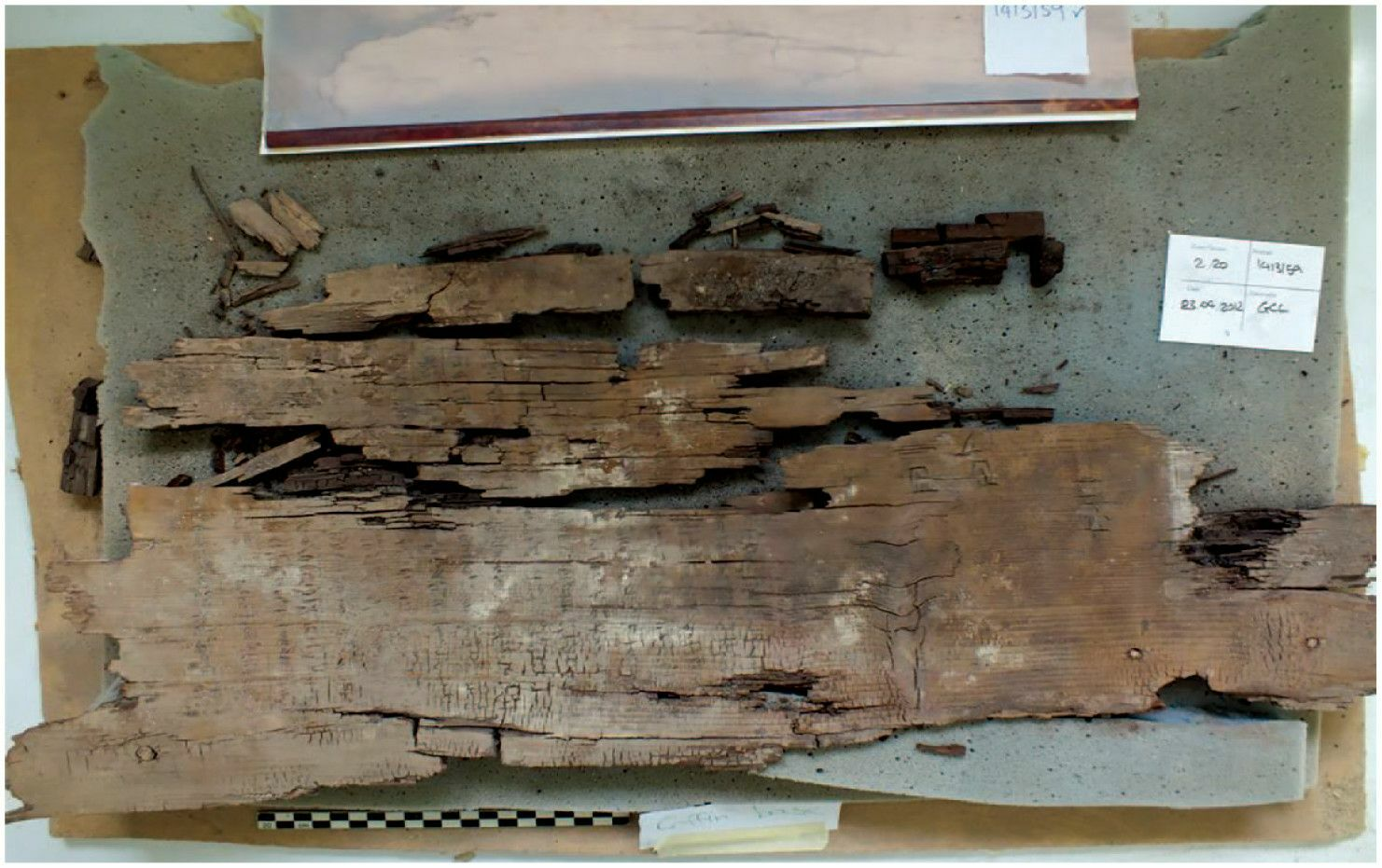A wooden panel from the coffin is engraved with the oldest Book of Two Ways