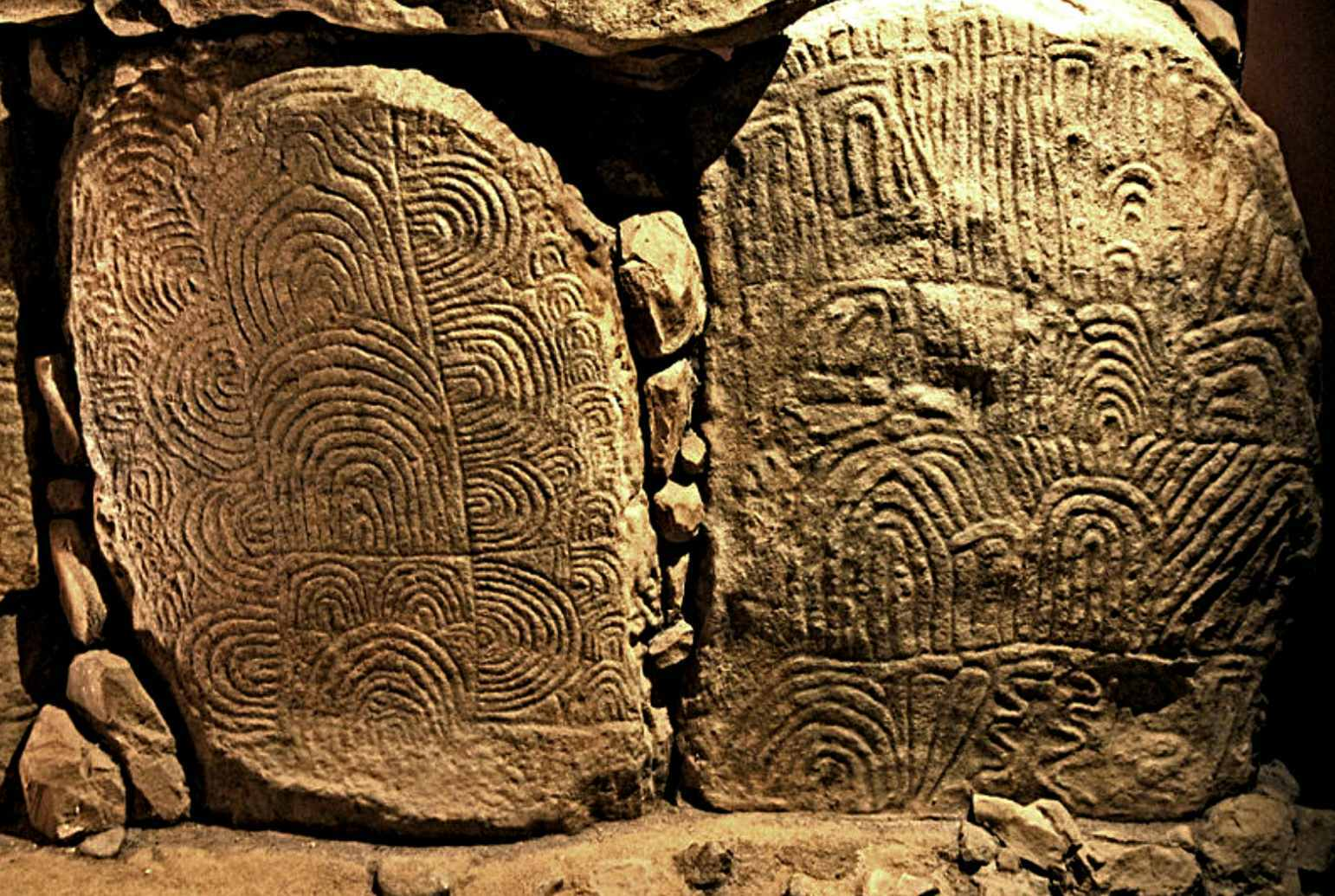 Decorated slabs from the Gavrinis passage (replica in Bougon Museum)