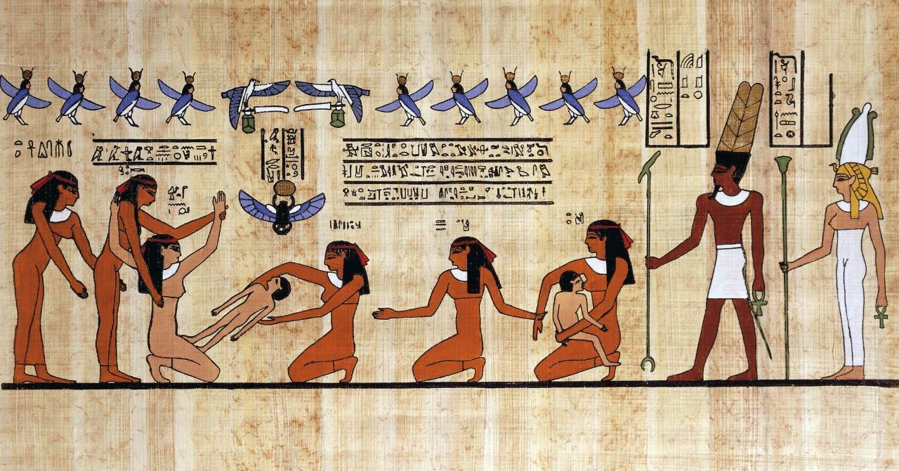 Ancient Egyptian pregnant women giving birth and surrounded by other ancient Egyptian women