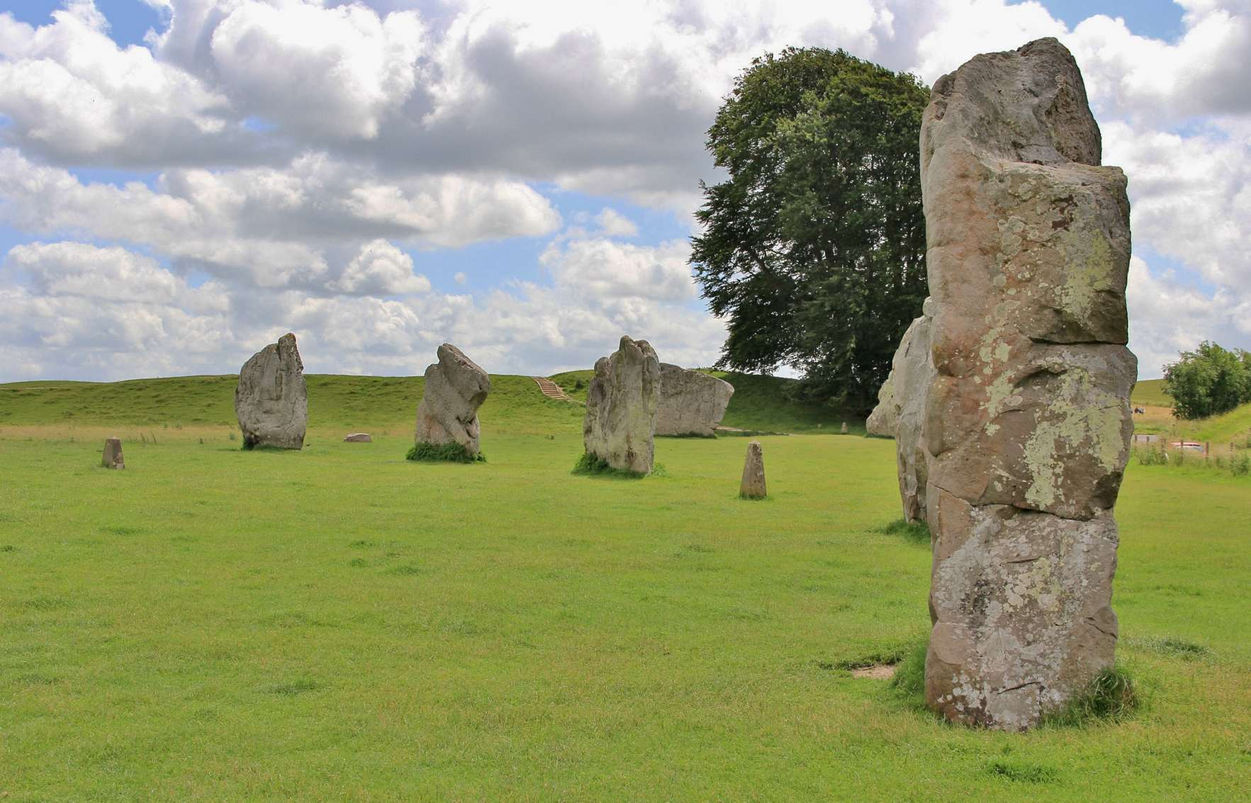 The vast 330m (1,082ft) wide stone circle of Avebury was built between about 2850 BC and 2200 BC. Containing three stone circles and boasting 100 huge standing stones originally, it has been the subject of considerable archaeological interest since the 17th century.