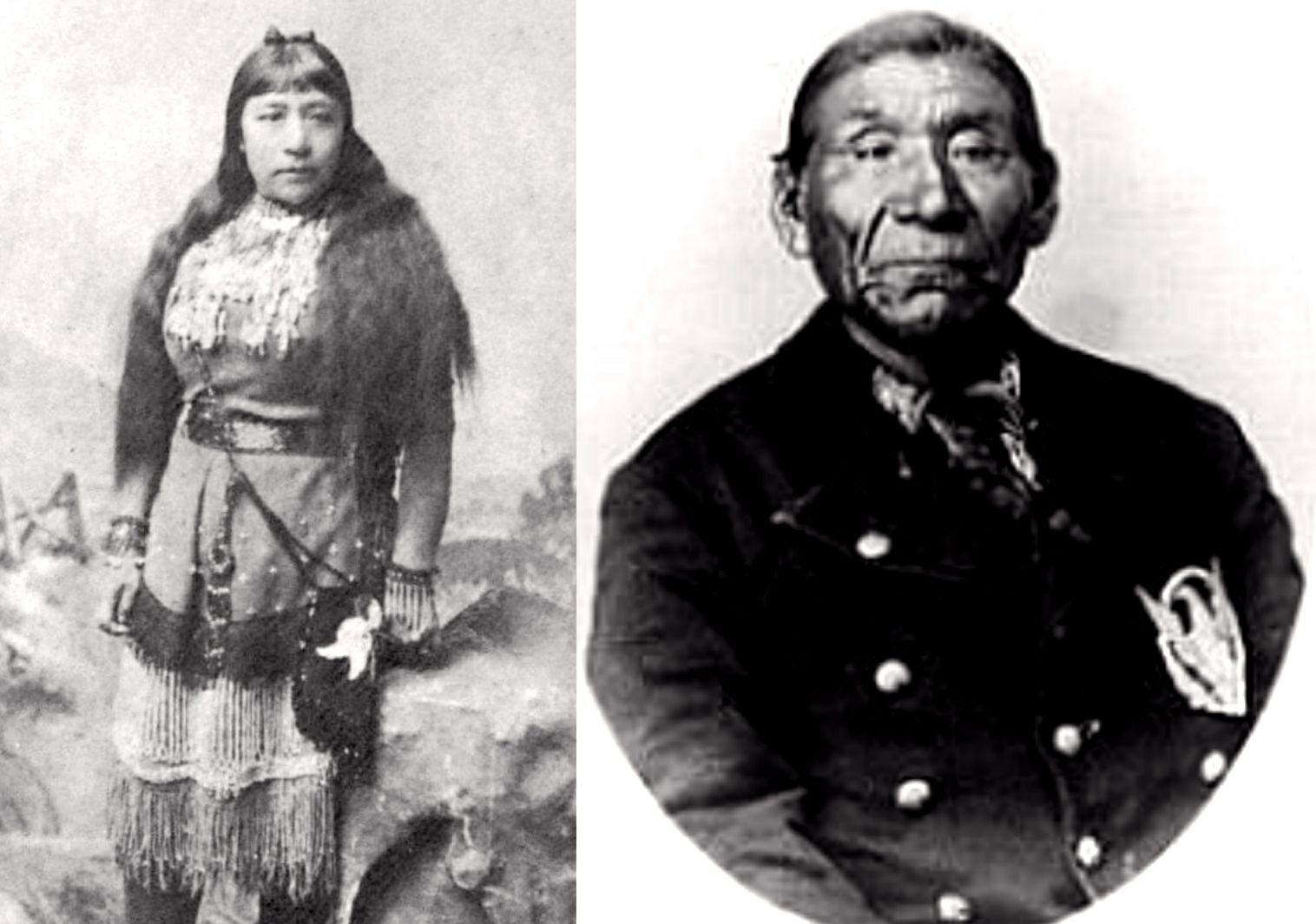 Sarah Winnemucca, spisovateľka a lektorka Paiute, po boku svojho otca a vedúceho Poita Winnemucca z rodákov z Paiute v Nevade
