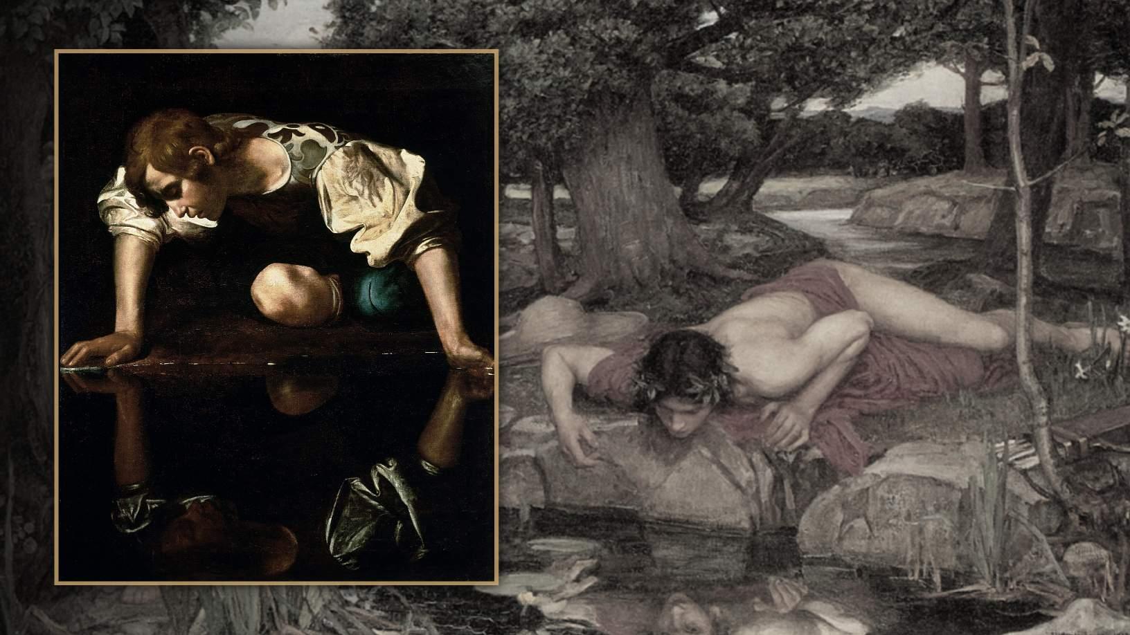 Narcissus starend naar zijn eigen spiegelbeeld. © Image Credit: Wikimedia Commons
