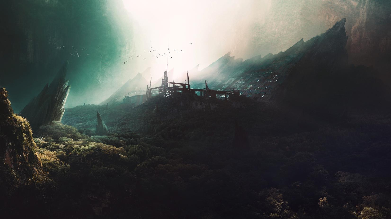 Illustratie van het geheime lab in de canyon, digitaal schilderen. © Image Credit: Zishan Liu | Licentie van DreamsTime.com (Redactionele/commerciële gebruiksfoto, ID:185429361) © Zishan Liu