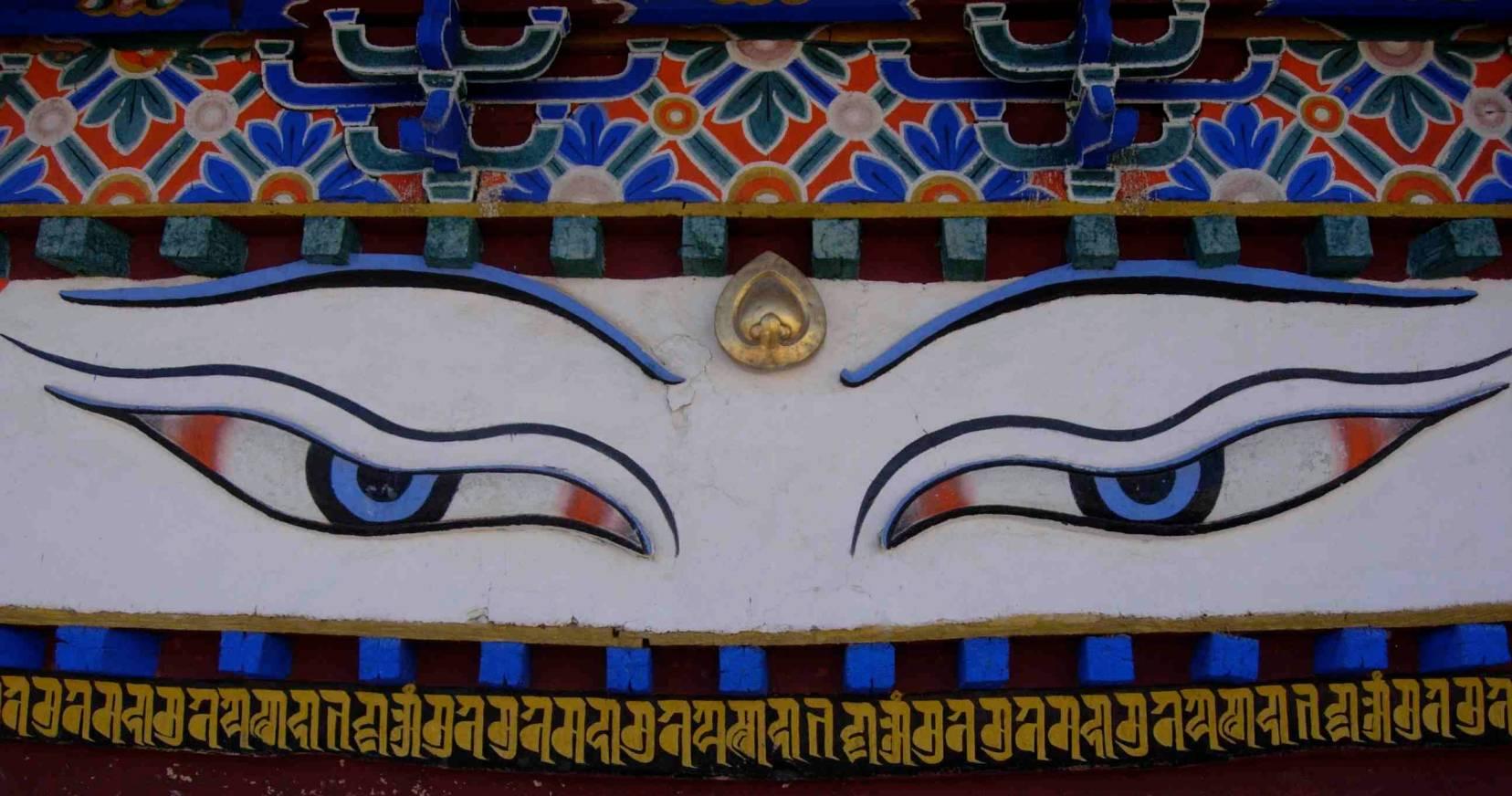 Tibetan art of blue eyed buddha