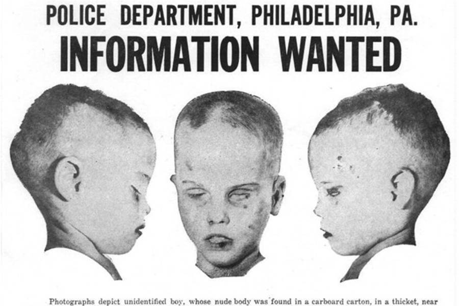 The boy in the box, depicted on a flyer sent out to residents of surrounding towns. © Image Credit: Wikimedia Commons