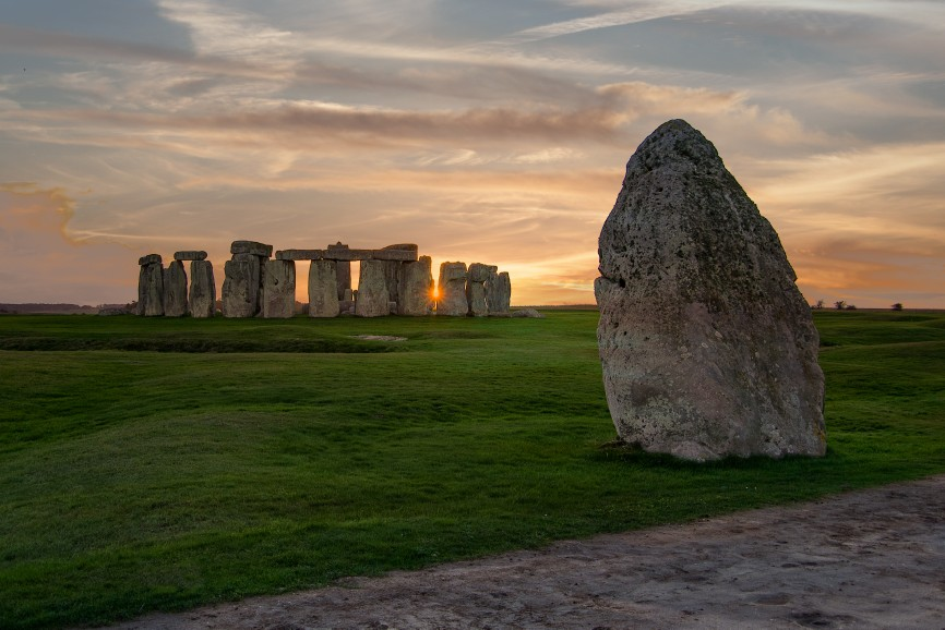 The Heel Stone is a single large block of sarsen stone standing within the Avenue outside the entrance of the Stonehenge earthwork in Wiltshire, England. © DreamsTime.com