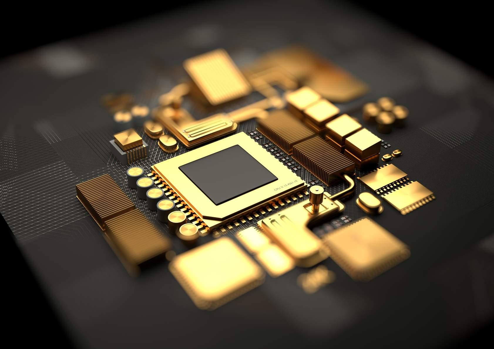 Une image conceptuelle des composants du chipset du processeur et de la carte mère en or. © Crédit d'image : Solarseven | Licencié de DreamsTime.com (Photo de stock à usage éditorial/commercial)