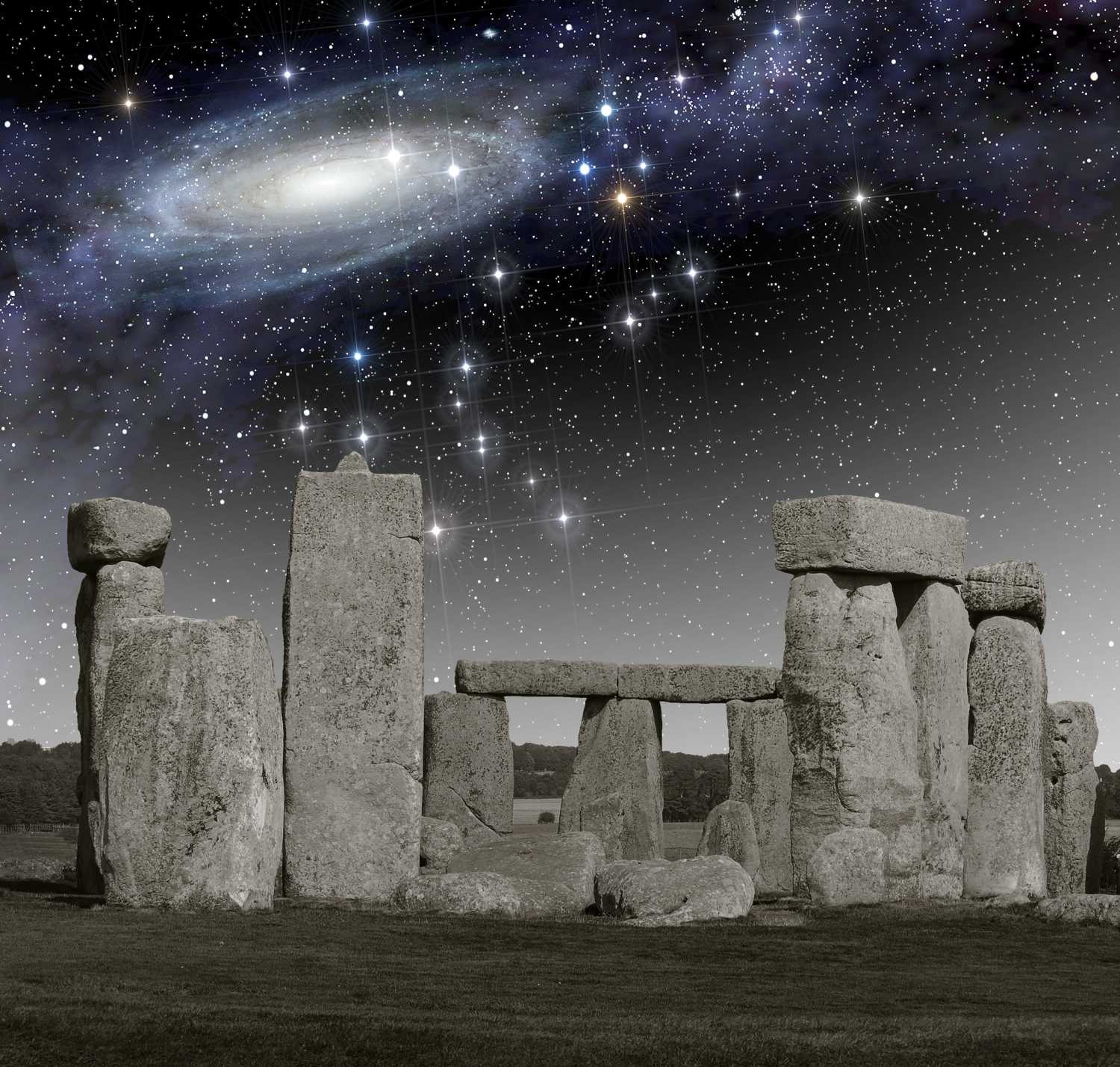 The monument of Stonehenge in front of a primordial deep space.